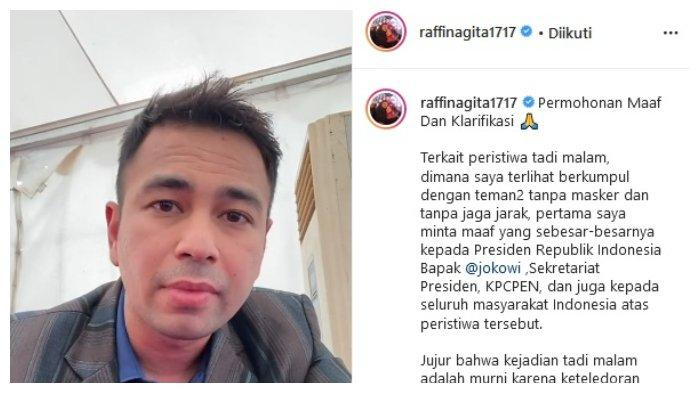 Raffi Ahmad Beri Klarifikasi dan Permohonan Maaf Setelah Hadiri Pesta Tanpa Gunakan Masker
