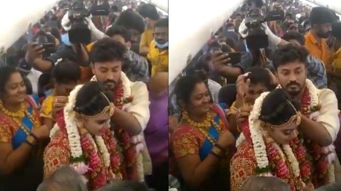 Pasangan India Menikah di dalam Pesawat agar Terbebas dari Prokes, Dihadiri 161 Tamu dan Berdesakan