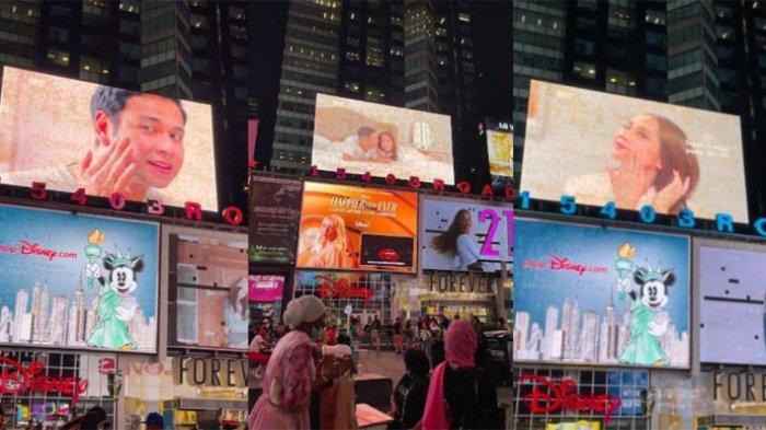 Tangkap layar unggahan Raffi Ahmad dan Nagita Slavina yang memperlihatkan wajah mereka terpampang di billboard Times Square New York