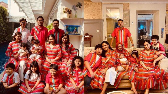 Nagita Slavina Buat Baju Lebaran untuk Keluarga dengan Warna Mencolok, Syahnaz: Kue Lapis