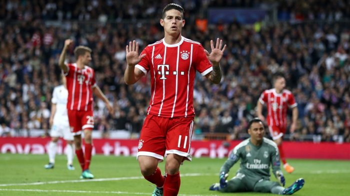 Pemain Bayern Muenchen, James Rodriguez merayakan golnya ke gawang Real Madrid dalam laga leg kedua semifinal Liga Champions di Stadion Santiago Bernabeu, Madrid, Spanyol, Rabu (2/5/2018) dini hari WIB.