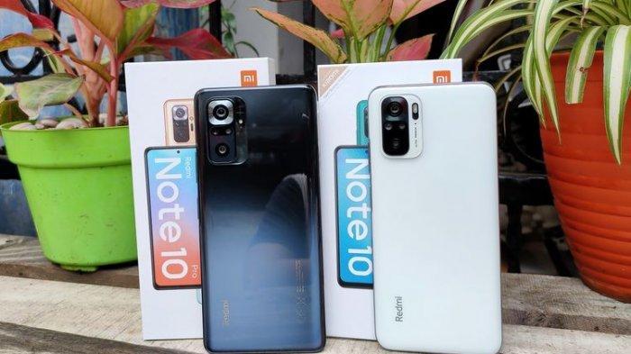 Xiaomi resmi meluncurkan Redmi Note 10 (kanan) dan Redmi Note 10 Pro (kiri) untuk pasar Indonesia, Selasa (30/3/2021).