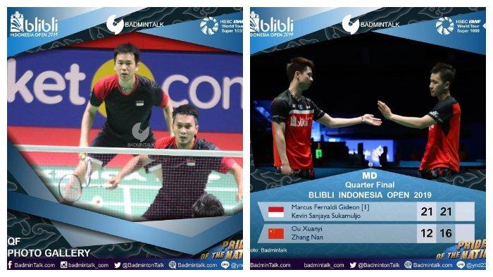 Rekap hasil pertandingan bulutangkis Indonesia Open 2019: terisa pasangan ganda putra Marcus/Kevin dan Ahsan/Hendra yang maju ke babak semi final.