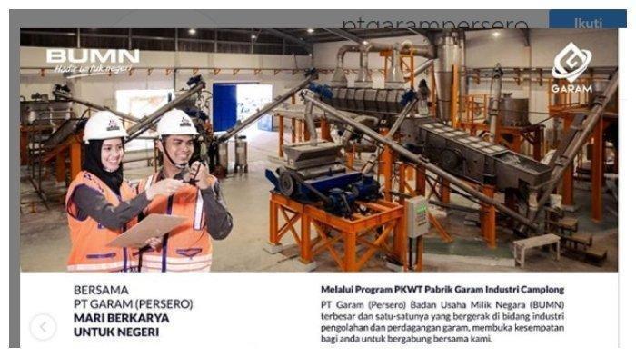 Rekrutmen BUMN PT Garam (Persero) Minimal SMK, Pendaftaran hingga 17 Mei 2019 Ayo Buruan Daftar!