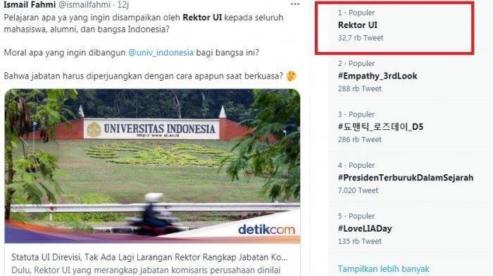 Rektor UI trending topik di twitter setelah polemik rangkap jabatan.