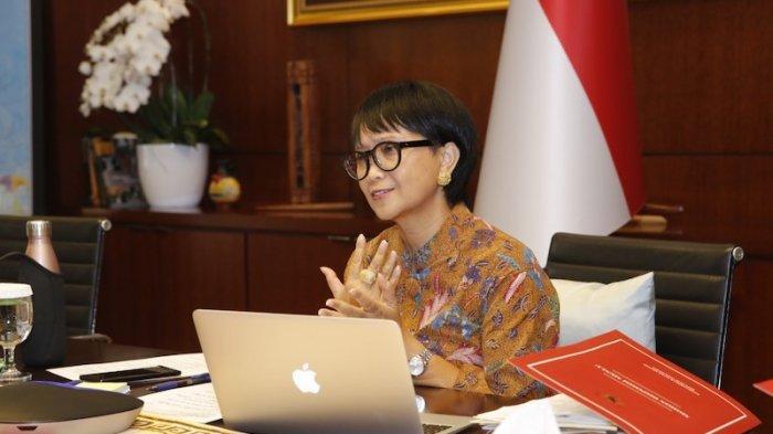 Menlu Retno dalam pertemuan ke-17 Menteri Luar Negeri MIKTA yang dilangsungkan secara virtual, Jumat (17/7/2020).