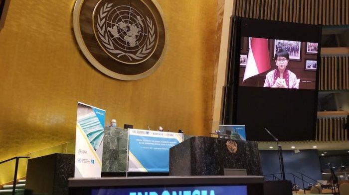 Menteri Luar Negeri RI Retno Marsudi menghadiri sesi khusus Sidang Majelis Umum PBB untuk menanggapi Pandemi Covid-19 yang diselenggarakan secara virtual dari New York tanggal 3-4 Desember 2020.