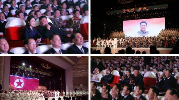 Konser di Mansudae Art Theater dimulai dengan bagian yang merayakan ulang tahun Kim Jong Il, sebelum beralih ke bagian kedua yang didedikasikan untuk Kim Jong Un, menurut KCNA. (Gambar: Rodong Sinmun)