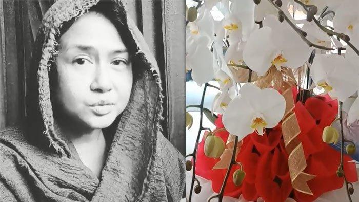 Kiriman bunga Jokowi untuk Ria Irawan yang sedang sakit
