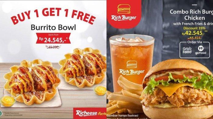 Richeese Factory Promo Buy 1 Get 1 Free Burrito Bowl, Diskon 40% Khusus Pemesanan via GrabFood