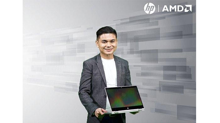 Ricky Handrian, Indonesian Head of Personal System Category, HP Inc. memperlihatkan salah satu Seri HP ProBook 405 terbaru, yakni HP ProBook x360 405 G7 pada peluncurannya secara virtual, Rabu (24/6/2020).