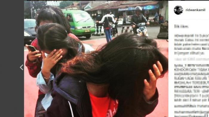 Foto Tiga ABG Cantik Tutupi Wajah Diposting Ridwan Kamil di Instagram