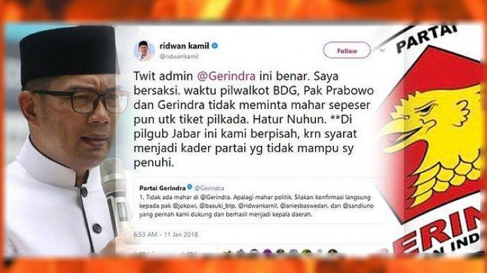 Ridwan Kamil Saya Bersaksi Pak Prabowo Dan Gerindra Tidak Meminta Mahar Tribunnews Com Mobile