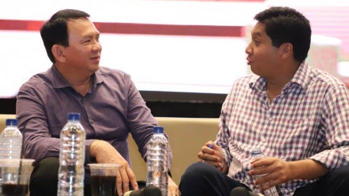 Maruarar Sirait dan Basuki Tjahaja Purnama alias Ahok mengisi diskusi di Aula BPK Penabur Harapan Indah, Jakarta, Minggu (10/11/2019), dalam rangka memperingati Hari Pahlawan.