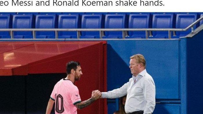 Ronald Koeman dan Lionel Messi saat Barcelona menang 3-1 atas Girona dalam laga persahabatan di Stadion Johan Cruyff, Rabu (16/9/2020) waktu setempat atau Kamis dini hari WIB.