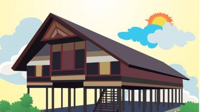 Rumah Adat Sumatra Ilustrasi 123412