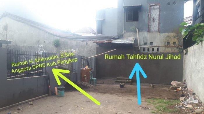 Penampakan tembok setinggi tiga meter yang dibangun oknum anggota DPRD Kabupaten Pangkep, H Amiruddin.