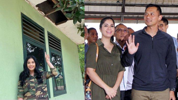 Annisa Pohan menunjuk atap flapon rumah dinas TNI yang sudah bocor. Annisa dan Agus Harimurti pernah tinggal di rumah dinas ini.