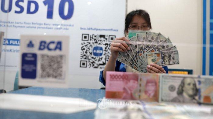 Karyawan menunjukan uang dolar AS di Jakarta, Selasa (16/3/2021).