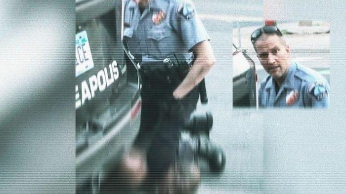 Tangkapan layar yang menampilkan wajah Derek Chauvin saat menginjak leher George Floyd dengan lututnya, pada Rabu (27/5/2020) di Minneapolis, Amerika Serikat. Chauvin dikenal sebagai polisi bermasalah, yang sudah 10 kali menjadi subyek pengaduan. (DAVID HIMBERT/HANS LUCAS via REUTERS)