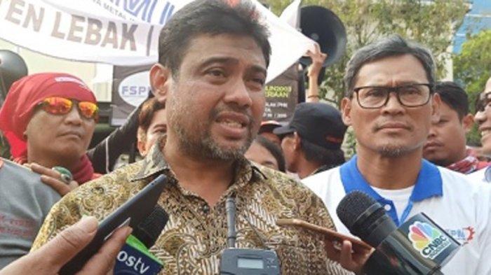 Ketua Konfederasi Serikat Pekerja Indonesia (KSPI), Said Iqbal, ditemui usai berorasi di Kantor Kementerian Ketenagakerjaan, Jakarta Selatan, Kamis (31/10/2019).