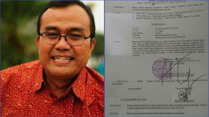 Kolase Dr Saiful Mahdi dan Surat Penggilan Pemeriksaan Polisi