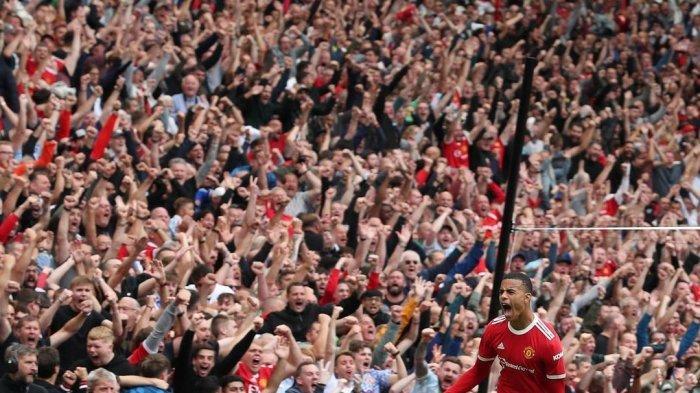 Salah satu selebrasi Mason Greenwood saat mencetak gol untuk Manchester United di Liga Inggris musim ini.