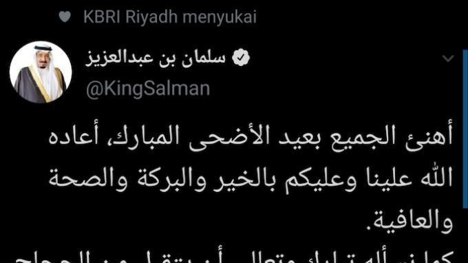 Salam Idul Adha dari Raja Salman Pasca Keluar Rumah Sakit