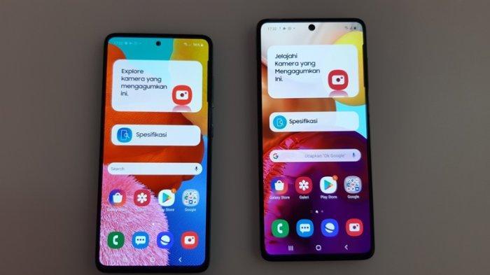 Samsung Galaxy A51 (kiri) dan Galaxy A71