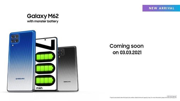 Samsung Galaxy M62 Diluncurkan 3 Maret 2021, Usung Spesifikasi Baterai 7000 mAh