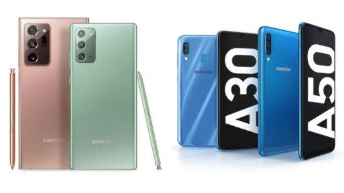 Samsung Galaxy Note20 Ultra and Note20, as well as Samsung Galaxy A30 and A50