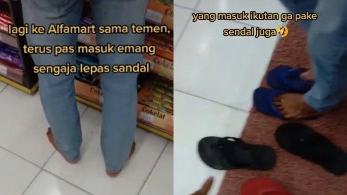 Viral Video 2 Pemuda Lepas Sandal sebelum Masuk Minimarket, Kaget Aksi Isengnya Diikuti Pembeli Lain