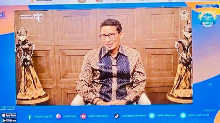 Menteri Pariwisata dan Ekonomi Kreatif Sandiaga Salahuddin Uno pada acara Nasari Bagi Indonesia yang berlangsung secara virtual, Sabtu (2/10/2021).