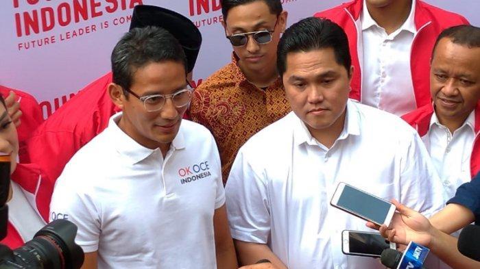 Momentum Sandiaga Uno Pertama Kali Bertemu Erick Tohir Pascapilpres 2019