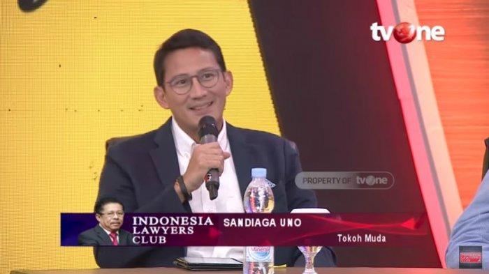 Sandiaga Uno saat di ILC TV One