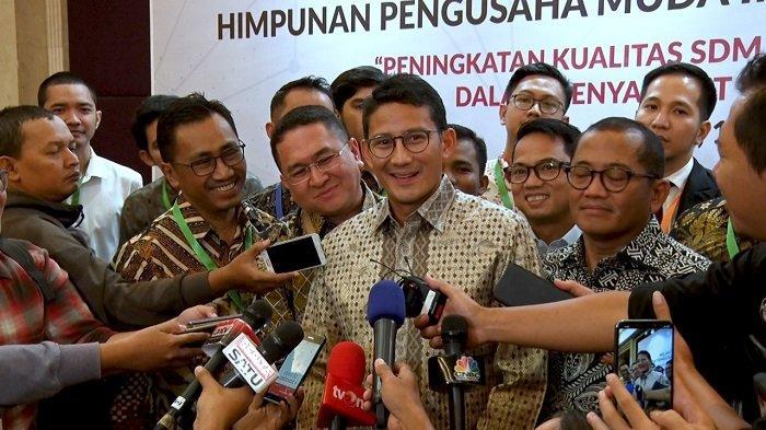 Sandiaga Uno saat menghadiri acara Pelantikan Badan Pengurus Pusat (BPP) Himpunan Pengusaha Muda Indonesia (HIPMI) 2019-2022 di Raffes Hotel, Jakarta Selatan, Rabu (15/1/2020).