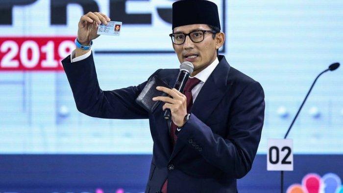 Sandiaga Uno dalam debat ketiga Pilpres 2019 di Hotel Sultan, Jakarta, Minggu (17/3/2019).