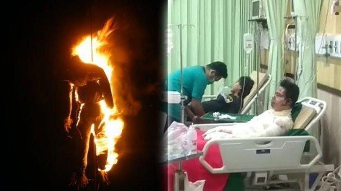 satpam bakar diri di Cipayung