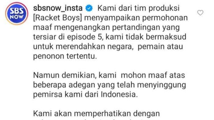 Permintaan maaf tim SBS di kolom komentar Instagram @sbsdrama.official. Belakangan ini netizen Indonesia dibikin geram karena drama Korea (drakor) Racket Boys dinilai melecehkan Indonesia