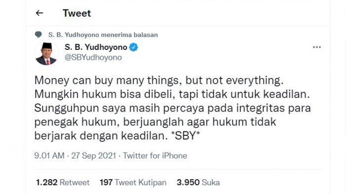 SBY membuat cuitan perihal hukum