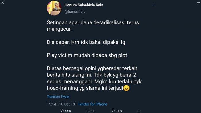 Screenshot tweet Hanum Rais