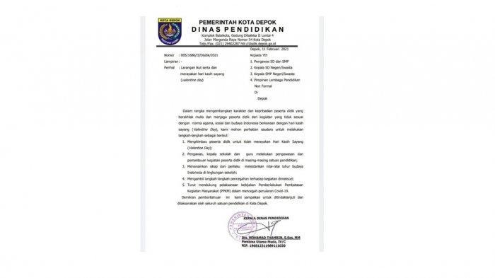 SE larangan merayakan Hari Valentine yang dikeluarkan Dinas Pendidikan Kota Depok