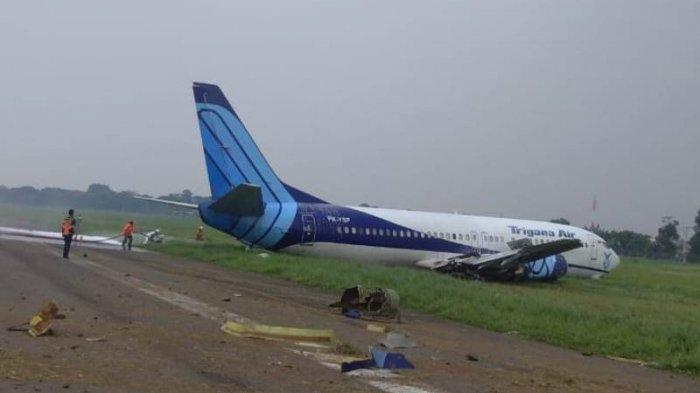 Kemenhub Usut Penyebab Pesawat Trigana PK-YSF Tergelincir di Bandara Halim