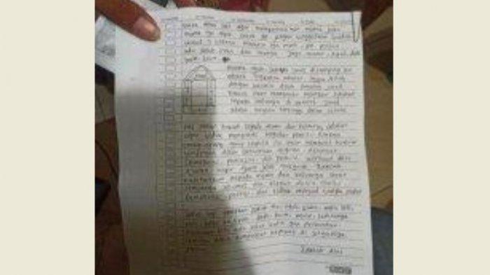 Secarik kertas diduga surat wasiat pelaku ZA yang serang Mabes Polri.