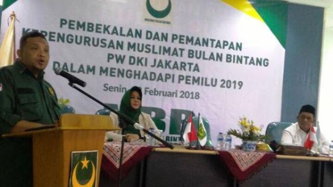 Sekjen DPP Partai Bulan Bintang (PBB) Afriansyah Noor saat Pembukaan Pembekalan dan Pemantapan PW Muslimat Bulan Bintang DKI Jakarta