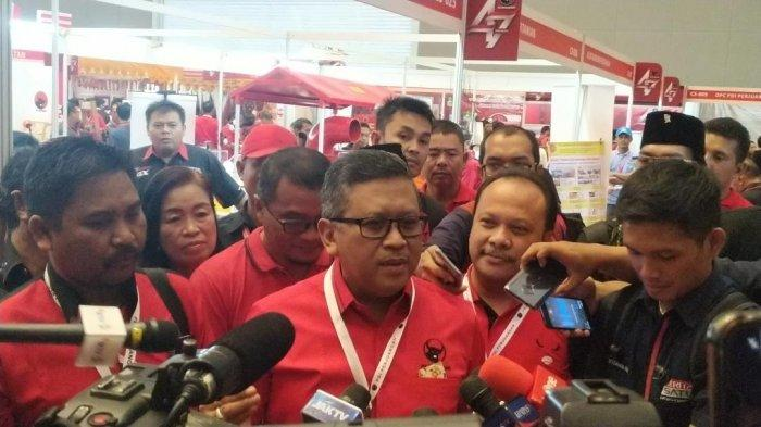 Sekretaris Jenderal PDI Perjuangan Hasto Kristiyanto ditemui di Rakernas I PDIP, di JIExpo, Kemayoran, Jakarta Pusat, Minggu (12/1/2020).