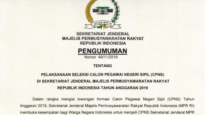 Sekretariat Jenderal MPR Rilis Formasi CPNS 2019, Cek Formasi dan Persyaratanya