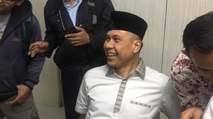 Sekretaris Jenderal FPI, Munarman, di kawasan Cikini, Jakarta Pusat, Senin (15/7/2019).