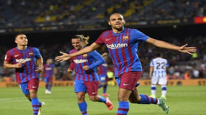 Selebrasi gol dari Martin Braithwaite dalam laga melawan Real Sociedad