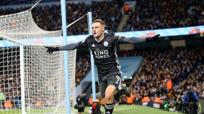 Selebrasi Jamie Vardy Seusai Bobol gawang Manchester City